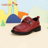 【1件2折后:44.6元】红蜻蜓童鞋中大童小男孩冬季儿童黑色英伦风潮流男童儿童小皮鞋
