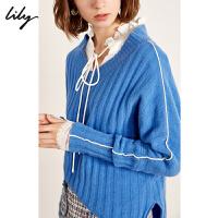 Lily春新款女装全羊毛蝙蝠袖V领毛衣毛针织衫