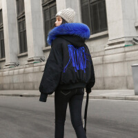 2018冬装新款女装冬款欧货短款韩版小款矮小个子中长款时尚羽绒服 黑色