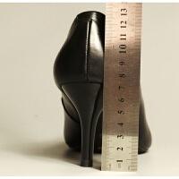 软皮舒适职业工作鞋女黑色皮鞋女细跟高跟鞋单鞋春工装空姐鞋 黑色7厘米 标准码,平时码拍