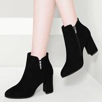 【高品质 】2019新款秋冬季女靴子黑色粗跟高跟鞋女鞋子磨砂短靴