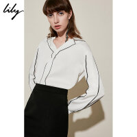 【预估到手价:164.7,专区折扣直降】Lily春新款女装顺滑莱赛尔撞色条纹套头雪纺衫118439C8982