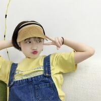 韩国ins新款网红空顶帽鸭舌帽子女手编沙滩草帽户外遮阳防晒草帽 M(56-58cm)