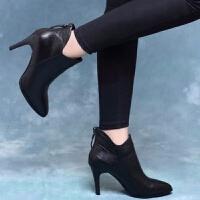 时尚高跟鞋2019新款秋冬季细跟短靴尖头鞋女靴春秋季单靴 黑色 皮里 7.5厘米跟高