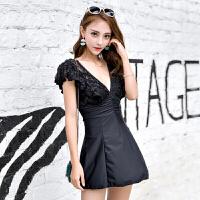 韩国性感黑色蕾丝大码温泉泳衣女士连体裙式显瘦大胸钢托聚拢泳装 黑色