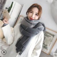 围巾女冬季长款加厚保暖韩版百搭双面双色格子披肩两用学生围脖秋