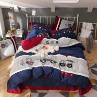 【人气】工程车四件套卡通全棉纯棉三件套儿童床上用品高低床笠款男孩女孩 工程车