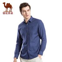 骆驼男装 新款时尚棉质扣领尖领修身商务休闲长袖衬衫男