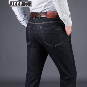 吉普JEEP莱赛尔天丝棉男士微弹秋冬牛仔长裤舒适柔软护肤休闲裤户外运动长裤