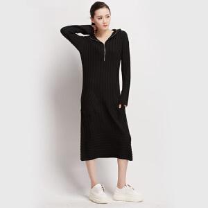 针织长裙秋冬女装纯色条纹侧插口袋连帽毛衣裙长袖前置拉链连衣裙