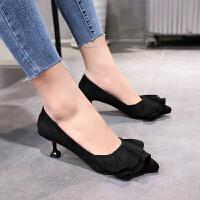 2019新款春季高跟鞋细跟尖头猫跟女鞋绒面同款黑色工作鞋中跟单鞋 黑色 37