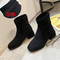 短靴女春秋冬新款粗跟马丁靴女英伦风网红中跟弹力靴瘦瘦靴袜子靴