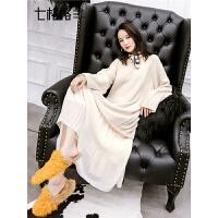 七格格针织连衣裙女秋冬新款假两件韩版中长气质过膝毛衣裙子