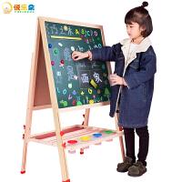 【满199立减100】儿童木质可升降双面磁性画板小黑板涂鸦板绘画写字板支架式画架家用学画画玩具六一儿童节礼物