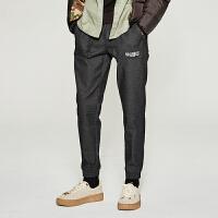 【1件3折到手价:38.7】美特斯邦威休闲长裤男士冬季新款收脚裤子黑色运动裤学生潮