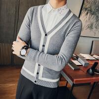 秋冬秋季青年毛衣修身型V领韩版开衫长袖居家男士常规针织衫
