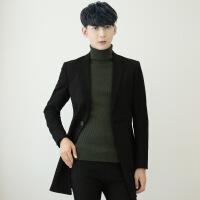 秋冬季中长款修身西装发型师风衣男外套大衣韩版披风外衣加厚加绒