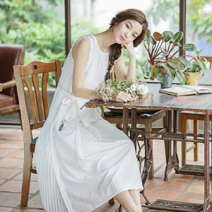 茵曼夏装新款原创设计风琴褶棉麻文艺连衣裙中长裙【1872103452】