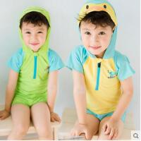儿童泳衣男童泳装宝宝防晒度假泳裤韩国分体可爱萌造型小企鹅青 可礼品卡支付