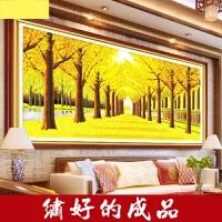 加长客厅十字绣电脑机绣十字绣成品黄金满地2米新款欧式客厅风景大画加长装饰画