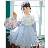 女童连衣裙秋冬花边领小女孩公主裙洋气儿童裙子