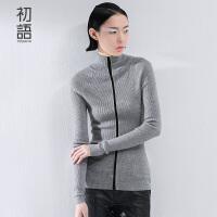 初语 冬季新品立领纯色长袖套头 毛衣女修身显瘦打底毛衣上衣女8540423048