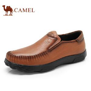 骆驼牌 男鞋 新品简约耐磨套脚休闲鞋头层牛皮低帮男鞋