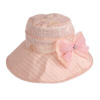 凉帽女遮阳帽大沿帽可折叠夏季蝴蝶结防晒帽太阳帽子
