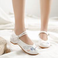新款春老北京布鞋女汉服鞋子中国风绣花鞋软底坡跟内增高古风鞋子