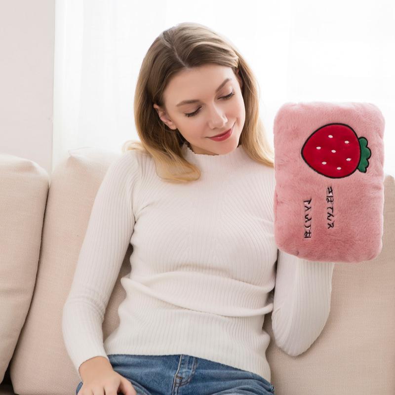 新款充电热水袋兔毛卡通可拆电暖宝暖手宝水电分离暖水袋