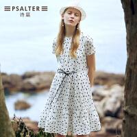 诗篇女装2018夏季新款小波点印花系带收腰连衣裙