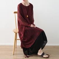 原创2018春季新款原创设计女装宽松大码双层雪纺扎染抽绳不规则连衣裙GH061 红色 均码
