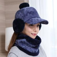帽子女冬天学生可爱护耳帽保暖帽鸭舌帽冬季帽可爱