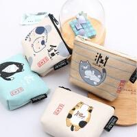 日系小零钱包卡通可爱猫肥家润零钱袋帆布硬币包拉链卡包钥匙包萌