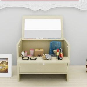 梳妆台 简约现代迷你小户型折叠便携梳妆架卧室飘窗收纳盒桌上化妆梳妆桌创意家具