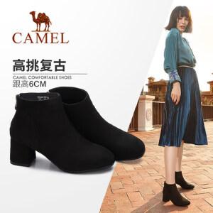 camel/骆驼女鞋 2017冬季新款 优雅简约方头绒里高跟短靴时尚绒面女靴子