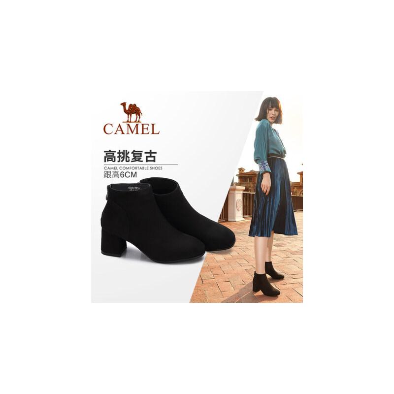 【领卷下单立减120元】camel/骆驼女鞋冬季新款 优雅简约方头绒里高跟短靴时尚绒面女靴子