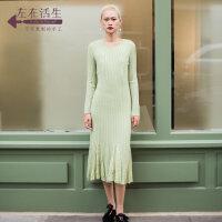 生活在左2018新款秋季女装复古气质羊绒毛针织连衣裙中长款裙子