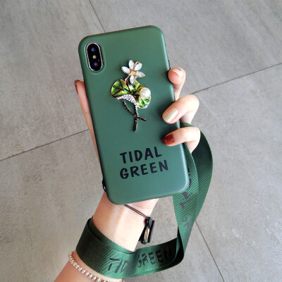 挂绳文艺墨绿苹果xs手机壳软硅胶套7plus潮牌iphone8新款6s女 6/6S 4.7寸 花
