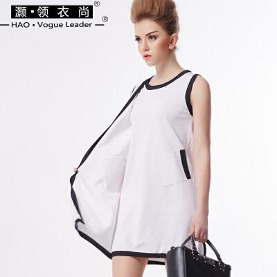 夏季撞色拼接假两件连衣裙圆领无袖背心裙中腰女铅笔裙针织连衣裙