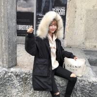 棉衣2018新款学生外套冬季加厚女中长款韩版工装宽松bf面包服