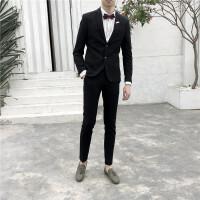 西服套装男英伦风潮流韩版修身外套休闲小西装新郎婚礼服职业正装 黑色