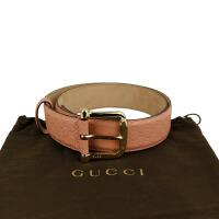 Gucci粉色小GG压花金色针扣腰带 281 548