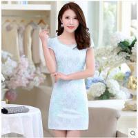 连衣裙短款少女学生夏季短袖修身蕾丝刺绣日常改良旗袍中长款裙子可礼品卡支付