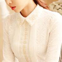 2017秋冬韩版女装打底衫上衣加绒加厚娃娃领长袖蕾丝衫衬衫