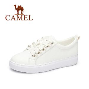 Camel/骆驼2017新款时尚平底舒适板鞋女 休闲简约小白鞋