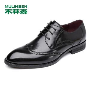 木林森皮鞋男士商务休闲鞋尖头男款英伦真皮结婚鞋正装鞋子布洛克雕花休闲77053004