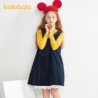 【3件4.5折:90】巴拉巴拉女童连衣裙儿童公主裙春装2021新款童装大童甜