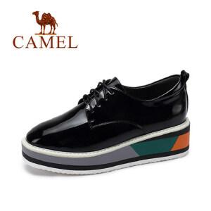 camel 骆驼女鞋  秋季新款 时尚亮面厚底松糕鞋女系带浅口内增高单鞋