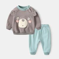 婴儿套装春秋女宝宝外出服0岁3-6个月新生儿纯棉两件套春装衣服男